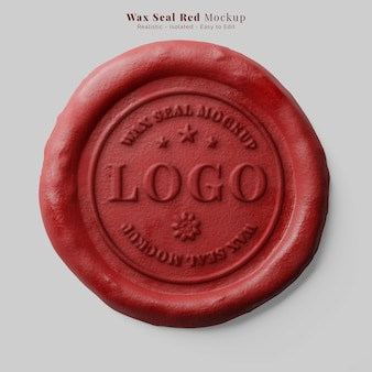 Vintage round red faux wax postal document seal stamp realistic logo mockup