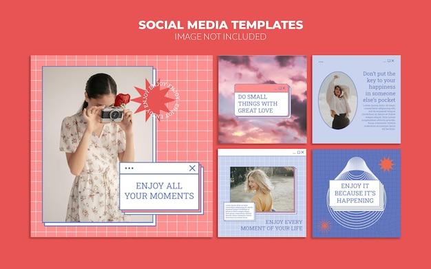 빈티지 소셜 미디어 포스트 템플릿 세트