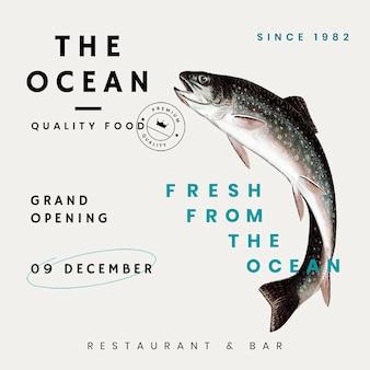 Modello di social media vintage psd per ristorante, remixato da opere d'arte di pubblico dominio