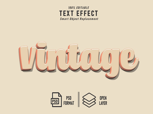 Vintage solid text effect bold retro