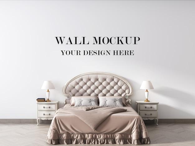 Vintage style bedroom 3d rendering wall mockup