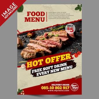 Vintage style hot offer food menu flyer template