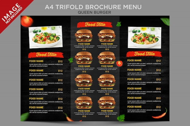 Винтажный стиль queen burger a4 trifold brochure menu series