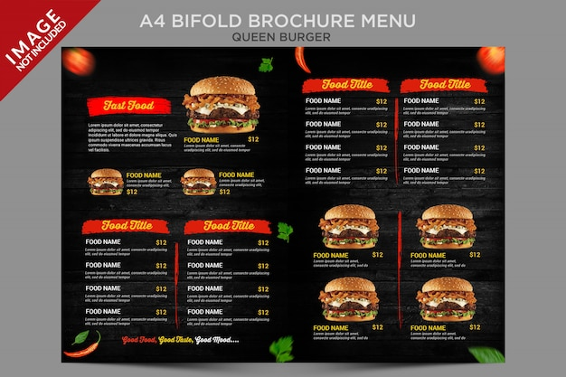 빈티지 스타일 퀸 버거 bifold 브로셔 메뉴 시리즈