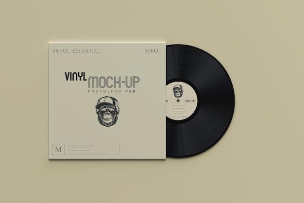 Vintage style vinyl disk and sleeve mockups