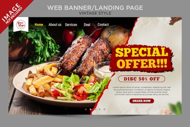 Vintage style web banner or landing page template
