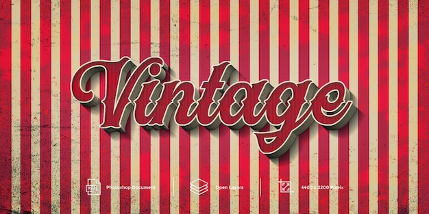 Vintage text effect design  layer style