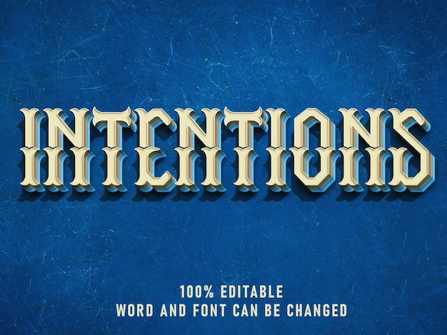 Vintage text style effect blue color with grunge style retro