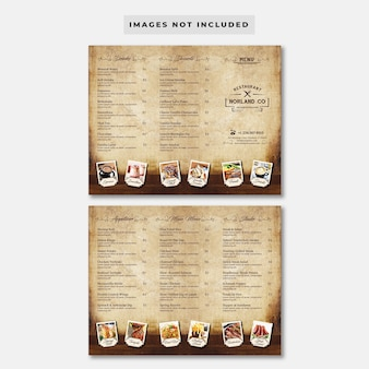 Шаблон меню ресторана vintage trifold