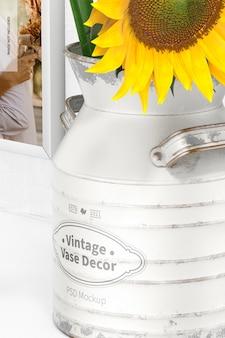 Vintage vase decor mockup, close up