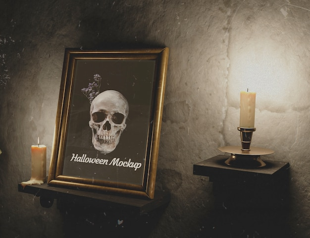 Vintage wall texture with candles and frame