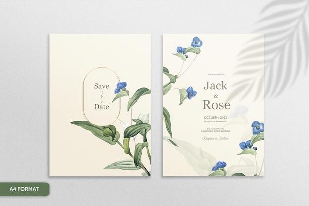 青い花とヴィンテージの結婚式の招待状のテンプレート