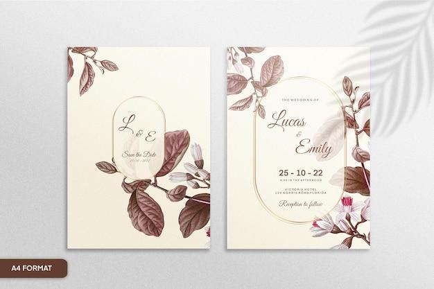 茶色の花とヴィンテージの結婚式の招待状のテンプレート