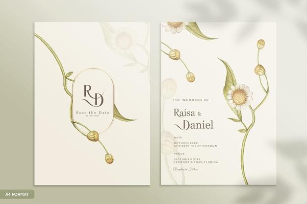 緑の花とヴィンテージの結婚式の招待状のテンプレート