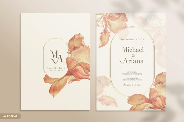 オレンジ色の花とヴィンテージの結婚式の招待状のテンプレート