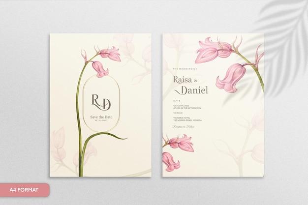 ピンクの花とヴィンテージの結婚式の招待状のテンプレート