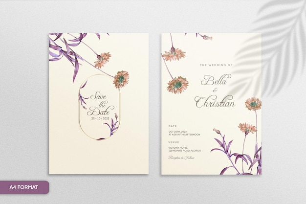 紫色の花とヴィンテージの結婚式の招待状のテンプレート