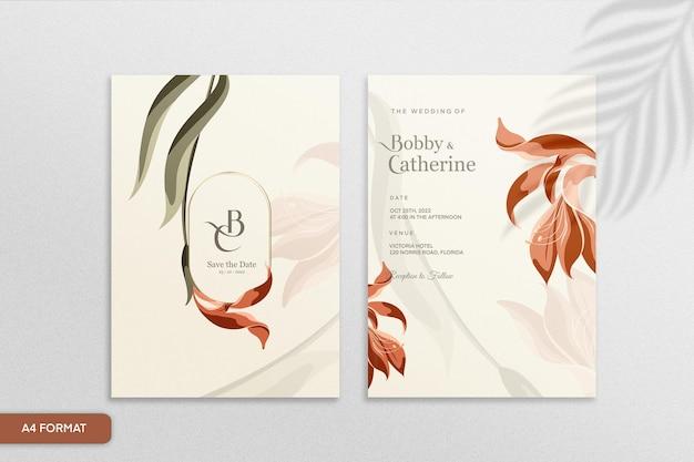 赤い花とヴィンテージの結婚式の招待状のテンプレート