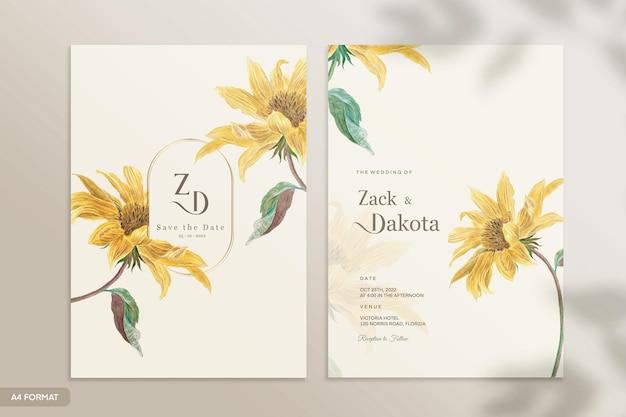 太陽の花とヴィンテージの結婚式の招待状のテンプレート