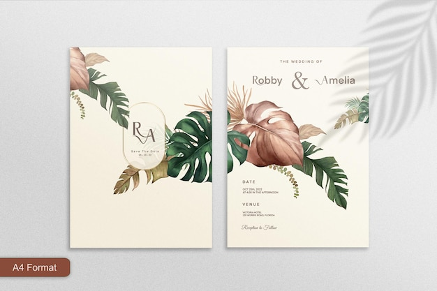 熱帯の花とヴィンテージの結婚式の招待状のテンプレート