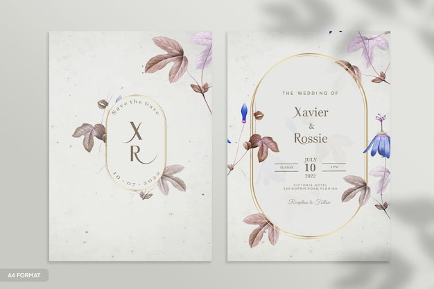 ヴィンテージの結婚式の招待状のテンプレート