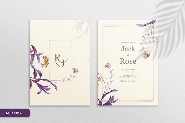 紫の花とヴィンテージの結婚式の招待状