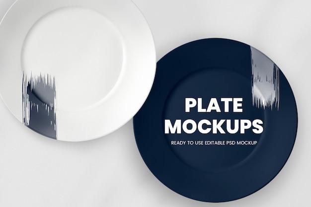 Mockup di png piatto in porcellana bianca vintage, con pubblico dominio