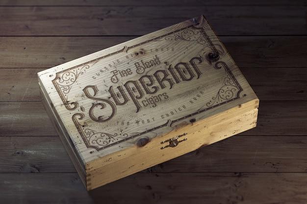 ヴィンテージの木製の箱のモックアップ
