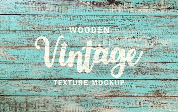 Vintage wooden texture mockup and wood painted text effect