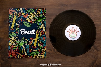 Vinyl and colorful cover mockup