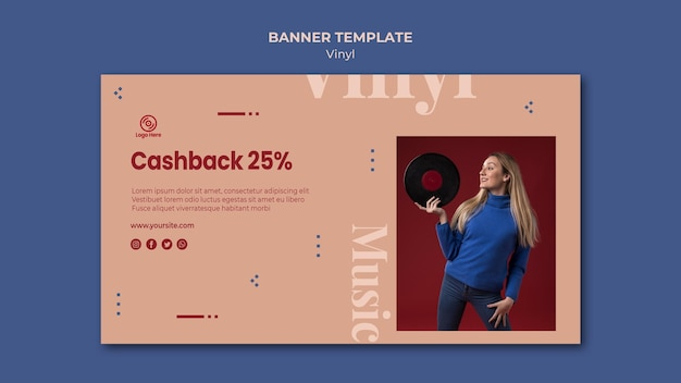 Vinyl cashback offer banner template