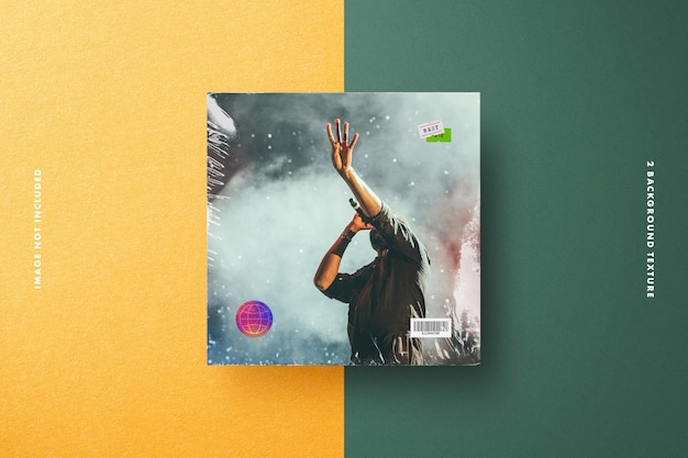 Vinyl cover mockup with plastic wrap, price tag & holographic security label