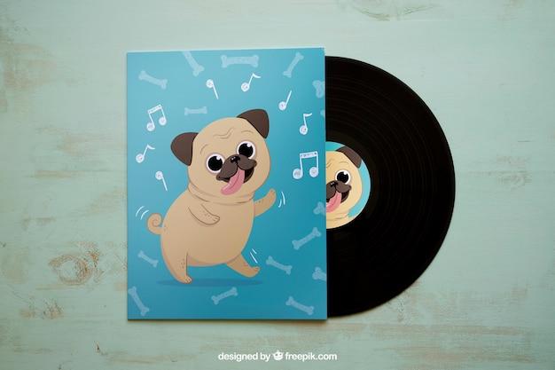 Vinyl mockup with dog design