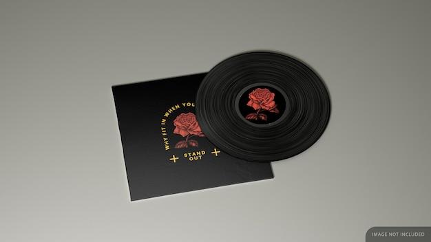 Дизайн мокапа обложки виниловой пластинки в 3d-рендеринге