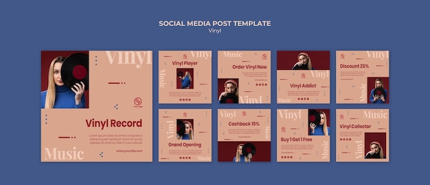 Modello di post di social media in vinile
