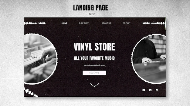 Vinyl store landing page template