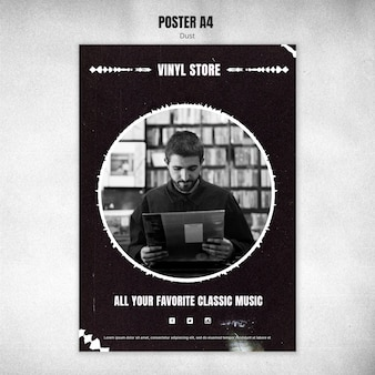Vinyl store poster template