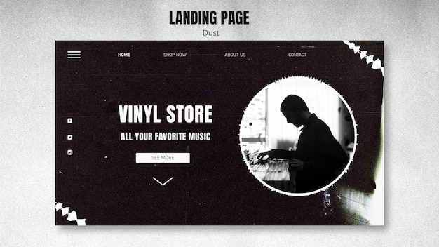 Vinyl store template landing page