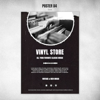 Vinyl store template poster