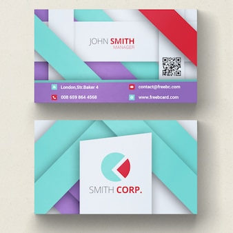 Violet, blue and red geometric business card