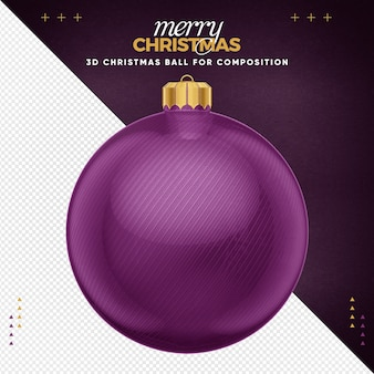 Violet christmas ball for composition
