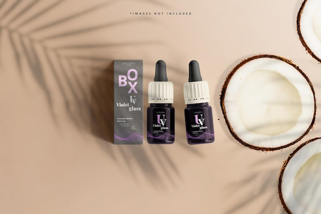 Violet glass small dropper bottle and box mockup