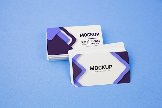 Violet and white pile of business cards mock-up