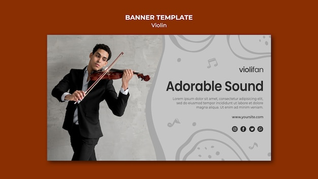 Violin adorable sound banner template
