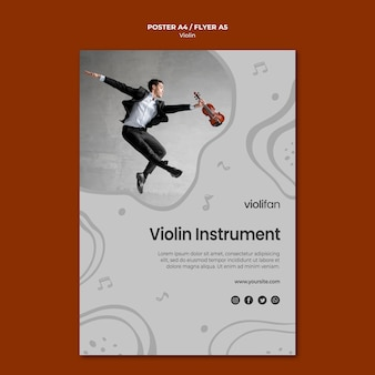 Violin instrument lessons poster template