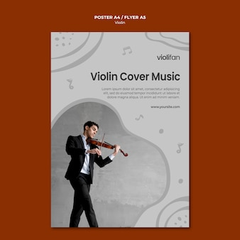 Violin music lovers flyer template
