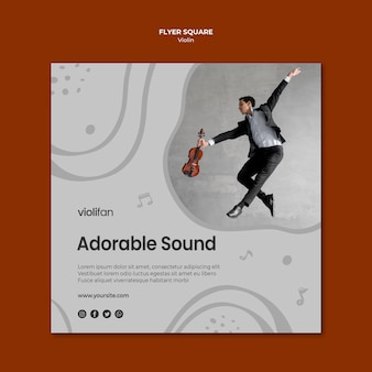 Violin music lovers square flyer template