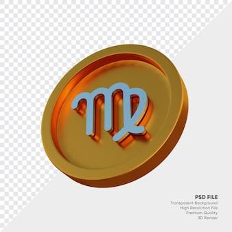 황금 동전 3d 그림에 처녀 자리 조디악 별자리 기호