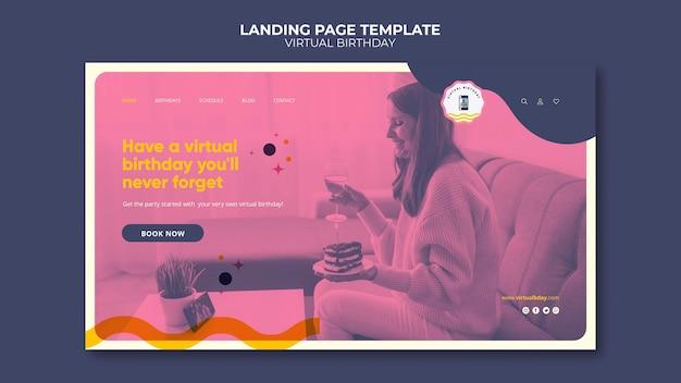 Modello di pagina di destinazione del compleanno virtuale