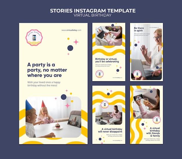Virtual birthday social media stories